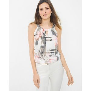 White House Black Market Pixelated Floral 90s Top